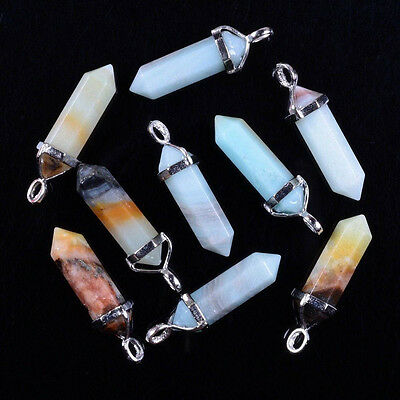 28 Choices Mixed Gemstone Crystal Healing Point Chakra Reiki Pendant Beads D99