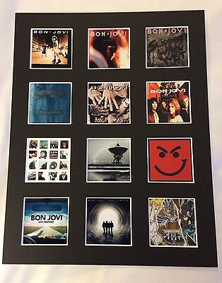"""BON JOVI DISCOGRAPHY PICTURE MOUNTED 14"""" By 11"""" READY TO FRAME"""