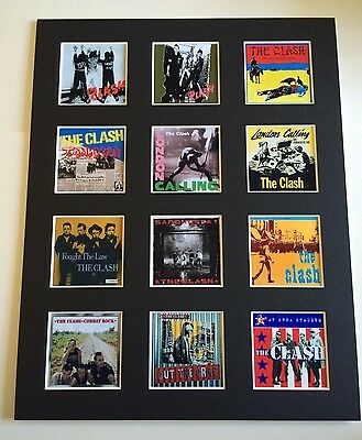 """THE CLASH DISCOGRAPHY PICTURE MOUNTED 14"""" By 11"""" READY TO FRAME"""