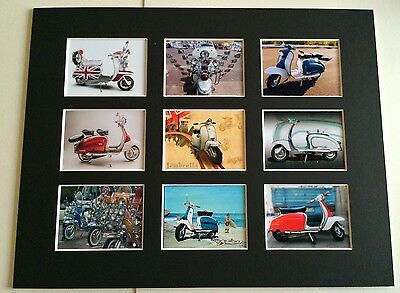 """LAMBRETTA SCOOTER VINTAGE RETRO POSTER PICTURE MOUNTED 14"""" By 11"""" READY TO FRAME"""