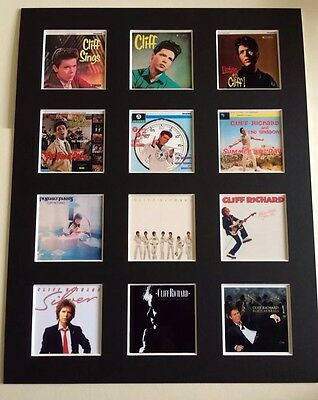 """CLIFF RICHARD DISCOGRAPHY PICTURE MOUNTED 14"""" By 11"""" READY TO FRAME"""