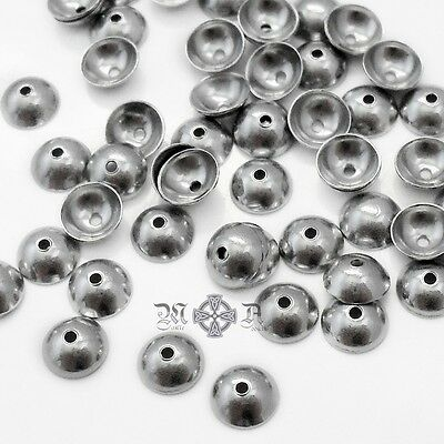 100 Plain Domed Stainless Steel 5mm Bead Caps - Smooth Polished Finish