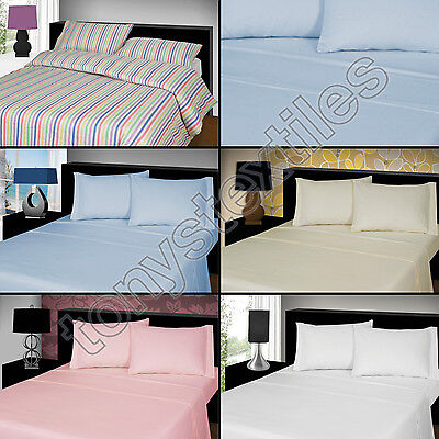 Thermal Flannelette 100% Brushed Cotton Flat Bed Sheet Single Double King New
