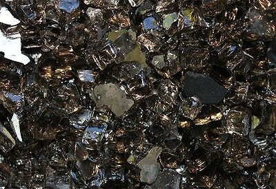 "40 LB Reflective Black Fireglass for Firepits / Fireplace 1/4"" Crushed Glass"