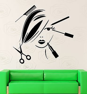 Beauty Salon Wall Decal Hair Spa Barber Tools Style Vinyl Stickers Mural ig2529