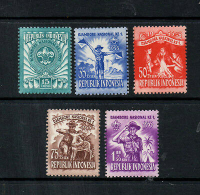 (Ref-3524) Indonesia 1955 National Scout Jamboree SG686/690  Mint (MNH)