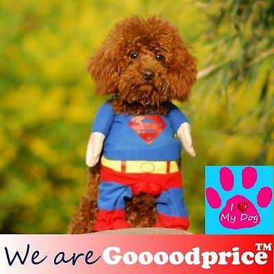 Halloween Cute Pet Dog Puppy Funny Costume Superman 5 Size Mini to Middle Dog