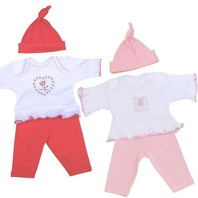 BabyPrem Girls Preemie Tiny Baby Clothes 3 Piece Set Outfit Trousers Top & Hat