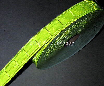 """Gloss Pvc Green Safety Reflective Tape Sew On Material Width: 25mm(1"""")"""