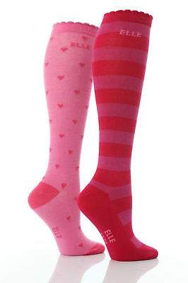 2 Pairs of Girls Over Knee socks by ELLE, Pink Red Hearts stripes, all sizes