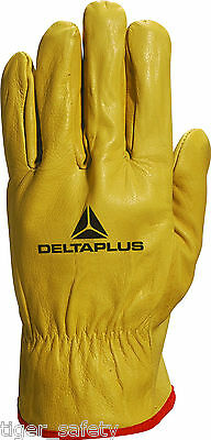 Delta Plus Venitex FBJA49 Yellow Full Grain Leather Quality Safety Work Gloves