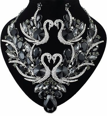 YT09 Black  Rhinestone Clear Crystal Swan Earrings Necklace Set Party Gift Large