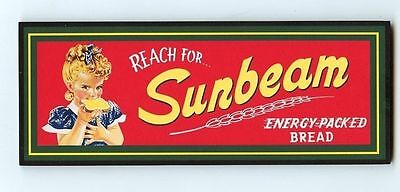SUNBEAM ENERGY PACKED BREAD GIRL AD WOOD WALL PLAQUE DECORATION SIGN VTG STYLE