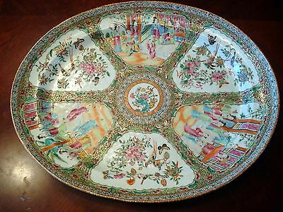"""Antique Chinese Rose Medallion Huge Platter 18 1/2"""", early 19th C"""