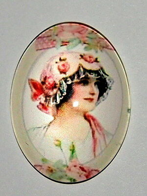 2 of 40x30 mm Floral Hat Woman Glass Cameos, Nice Flapper Style
