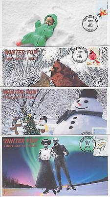 Jvc Cachets -2014 Set Of 4 Winter Fun Issues First Day Covers Fdc Season Topical