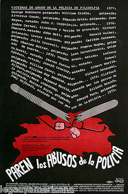 1977 Philadelphia Puerto Rican Community Police Brutality Protest Poster (2988)