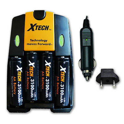 AC/DC Charger + 4 AA Rechargeable Batteries 3100mAh fr Canon Powershot SX130 IS