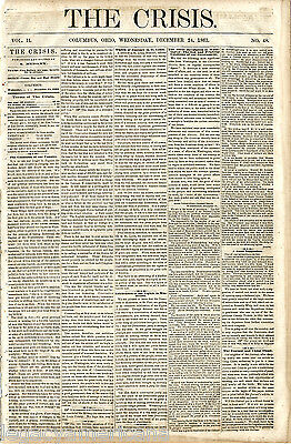 Civil War Peace Democrat THE CRISIS Anti Lincoln Copperhead Newspaper (4145)