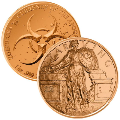 Zombucks Starving Liberty 1 oz .999 Copper BU Round USA Made ZOMBIE Bullion Coin