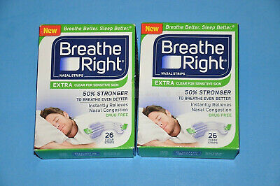 104 BREATHE RIGHT NASAL STRIPS, EXTRA CLEAR Adult Size Sensitive Skin W.W. Ship