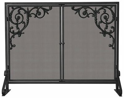 Uniflame SINGLE PANEL OLDE WORLD IRON SCREEN W/ DOORS & CAST SCROLLS S-1471 NEW