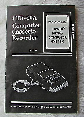 Radio Shack TRS-80 Cassette Recorder Manual - CTR-80A