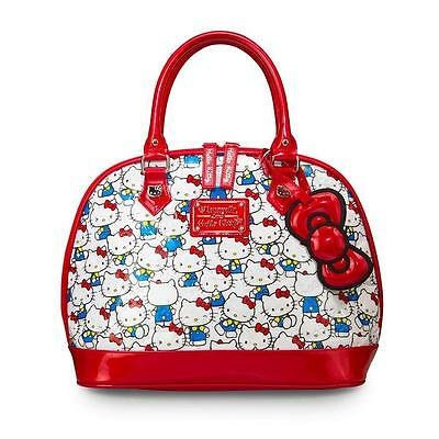LOUNGEFLY HELLO KITTY VINTAGE PRINT PATENT EMBOSSED TOTE BAG  ( Brand New )
