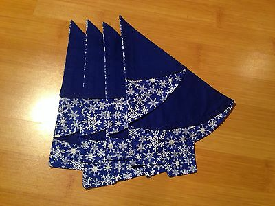 Handmade Holiday Christmas  Napkins Set of 4 Blue White Snowflake Tree Shaped