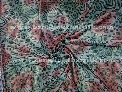 "GREEN RED GOLD CHEETAH LEOPARD ANIMAL PRINT SILK CHIFFON FABRIC 58""W Scarf Drape"