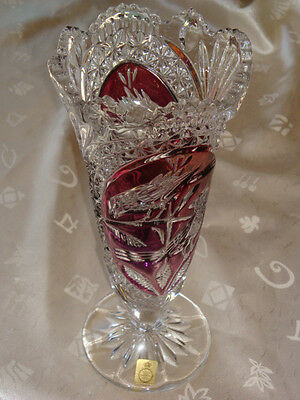 Vintage Cranberry / Ruby & Crystal Cut To Clear Echt Bleikristall Vase - Germany