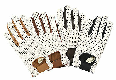 Classic Driving Gloves Crochet String Back Real Leather Chauffeur Unlined