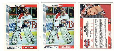 1X PATRICK ROY 1992 93 Score #295 WHITE NMMT Lots Available Avalanche Canadiens