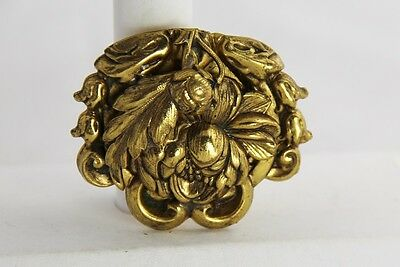 ANTIQUE Jewelry VICTORIAN GOLD METAL REPOUSSE FLORAL DRESS FUR COAT CLIP