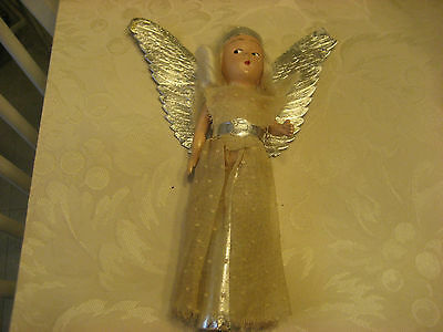 EARLY 1900S ANGEL TREE TOPPER WITH COMPOSITION FACE PLASTIC ARMS AND SILVER WING