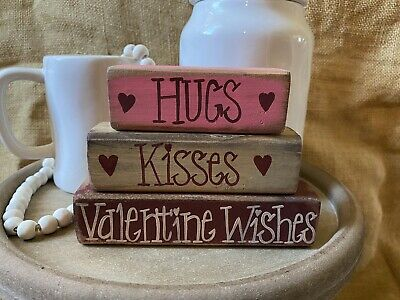 Primitive Country Hugs Kisses Valentine Wishes 3pc Shelf Sitter Wood Block Set