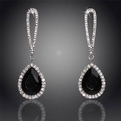 GORGEOUS 18K WHITE GOLD PLATED AND BLACK AND CLEAR CRYSTAL LONG DANGLE  EARRINGS