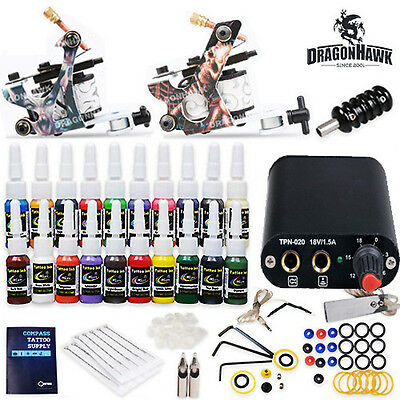 Complete Tattoo Kit needles 2 Machine Guns Power Supply 20 Color Inks HW-17VD