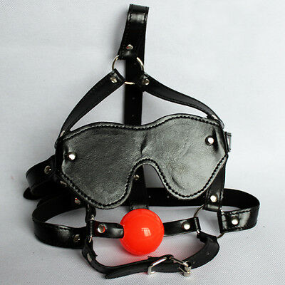 PU Leather soft Mouth Ball Gag Blindfold Eye patch Mask Head Harness Restraints
