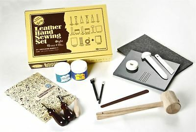 Craft Sha Leathercraft Leather Hand Sewing Set Light, 15 Tools & Book Kit