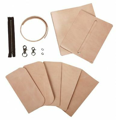 Craft Sha Leathercraft Leather Long Biker Wallet / Billfold Kit, Natural Tan