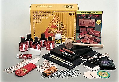Craft Sha Leathercraft Leather Carving & Dyeing Set, Deluxe Tools & Stamps Kit