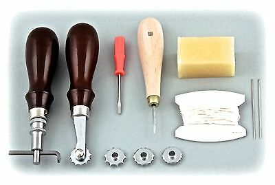 Craft Sha Leather Craft Kit Stitching Wheel Groover Spacer Wax Needle Awl Set