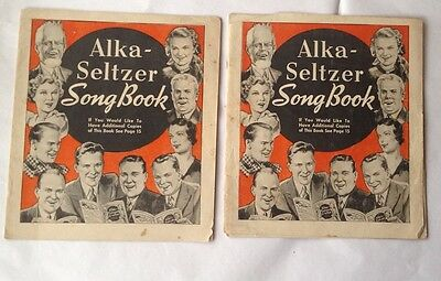 2 Alka-Seltzer Song Books Copyright 1937 By Miles Laboratories Inc.