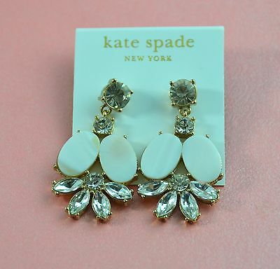 NWT KATE SPADE NEW YORK  WHITE SELL& CRYSTAL CHANDELIER EARRINGS Clear ON SALE