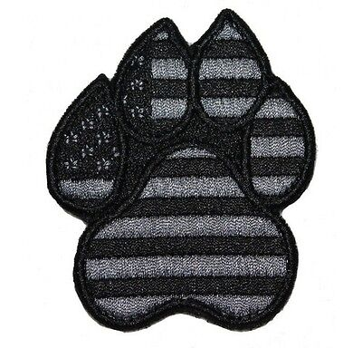 American Flag Black and Grey Dog K9 Paw - Velcro - Police / MWD / Military