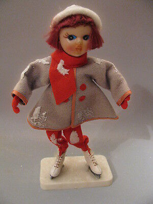 Vintage Japan Christmas Girl Figurine with Ice Skates Grey & Red Felt Outfit A4
