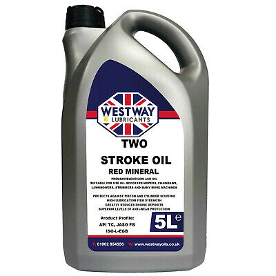 2 Stroke Oil Red Mineral Oil 5L 5 Litres - Made in UK - Low Smoke