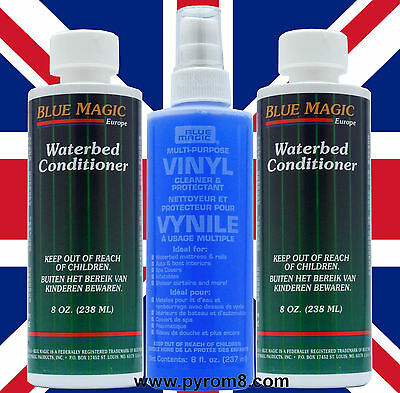 Blue Magic Waterbed Vinyl Cleaner 250ml and 2 x Conditioner 238ml 8oz