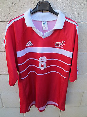 b4be79f73cc11 Maillot handball porté n°8 US CRETEIL ADIDAS match worn shirt rouge XL